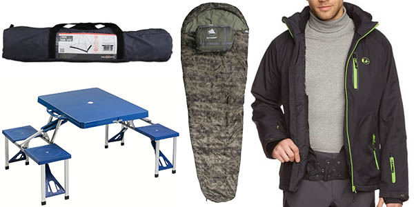 tiendas de campaña sacos de dormir chaquetas de montaña y linternas de excursion