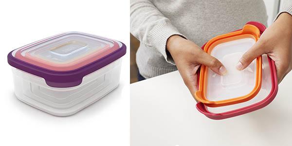 tuppers perfectos para ahorrar espacio de almacenaje en la cocina en medidas diferentes