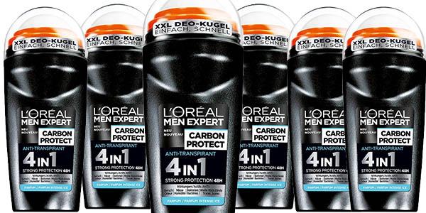 l'oréal men expert desodorante carbon protect roll-on pack de 6 unidades barato