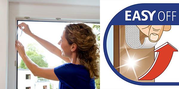 mosquitera para ventanas tesa insect stop con tiras adhesivas de velcro
