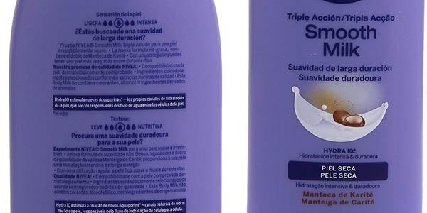 nivea body milk para piel seca con manteca de karite aplicar en la ducha