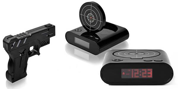 original reloj despertador con pistola laser barato