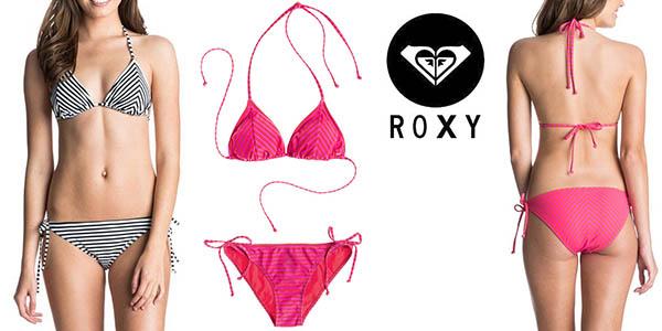 roxy tiki tri & tie side set bikini para mujer barato