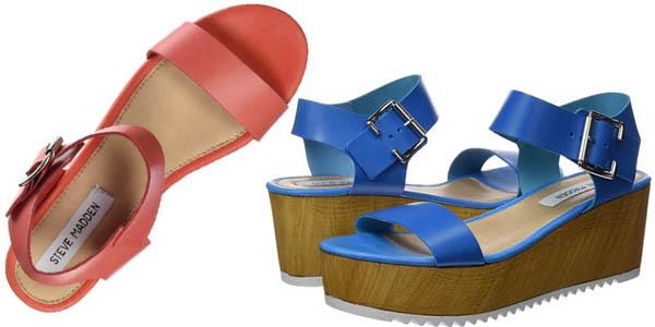 steve madden nile zapatos verano mujer tacon 6,5 cm tiras cuero color azul y coral