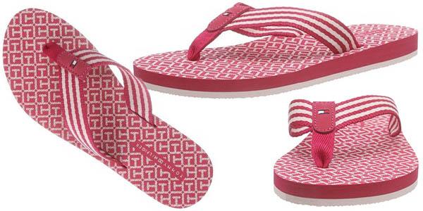 tommy hilfiger monica 34d flip flops verano color rosa rojo