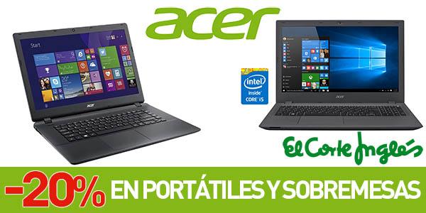Descuentos en ordenadores Acer en El Corte Inglés