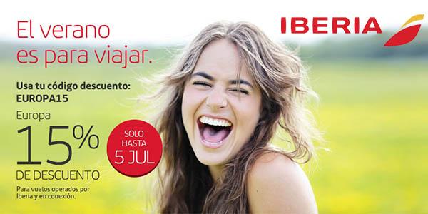 iberia cupon descuento europa15 julio 2016 vuelos
