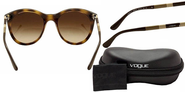 vogue gafas de sol montura redonda lentes marron degradado