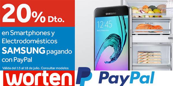 worten 20% descuento seleccion electrodomesticos smartphones pagar paypal julio 2016