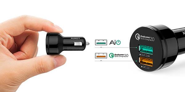 Cargador de coche 2 x USB Aukey