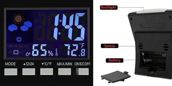 estacion metereologica con reloj y alarma estupenda relación calidad-precio