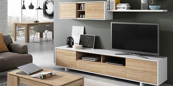 mueble de comedor Duehome Belus en roble y blanco brillo barato