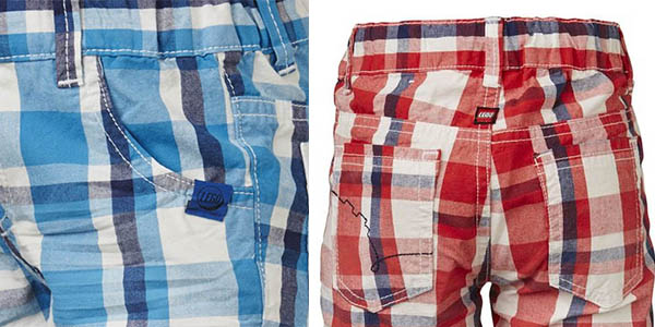 pantalones cortos para niños de cuadros color rojo y azul lego
