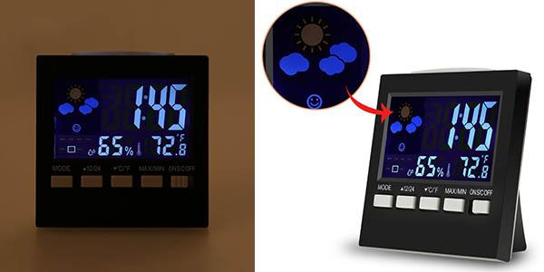 reloj-despertador con estacion metereologica pequeño y barato