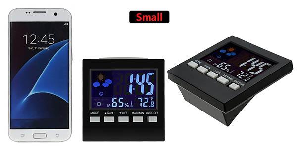 reloj de mesa con alarma y pantalla digital con luz funciones variadas