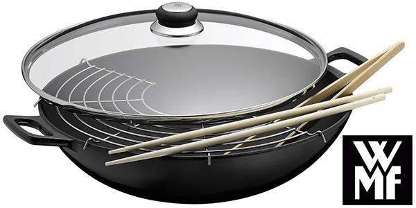 wmf wok hierro fundido con rejilla acero y tapa crital barato