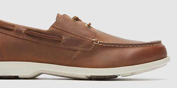 zapatos comodos cuero marrones suela caucho transpirables rockport