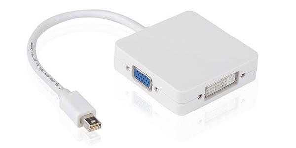 Adaptador 3 en 1 Mini DisplayPort (Thunderbolt) a HDMI / DVI / VGA