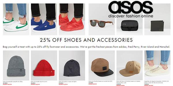 asos calzado complementos marca descuento 25% promocion