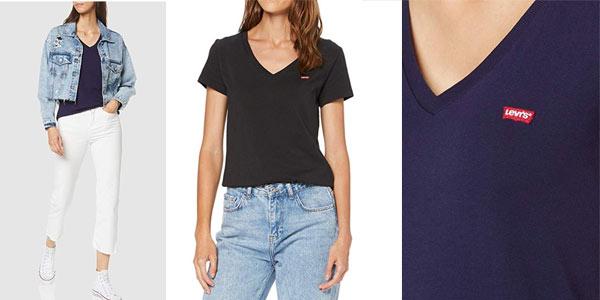 Comprar camiseta Levi's V neck para mujer en oferta en Amazon