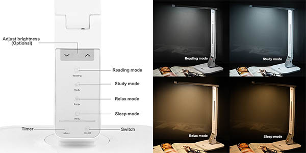 funcional lampara de escritorio control tactil iluminacion regulable