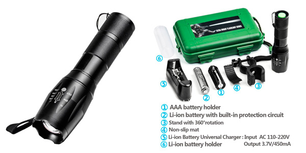 linterna led recargable 900 lm 5 modos