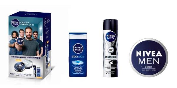 pack nivea men cuidado corporal gel desodorante crema