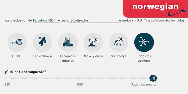billetes avion rebajados promocion norwegian noviembre 2016