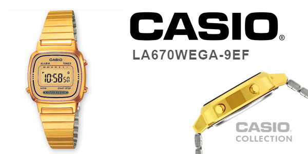 Reloj Casio para mujer de estilo retro dorado LA670WEGA-9EF