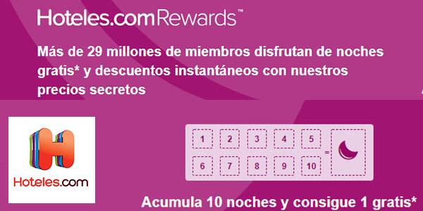 Hoteles.com Rewards alojamientos en promoción para noche gratis