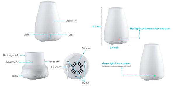 Humidifcador con luz LED de ultrasonidos para aceites esenciales