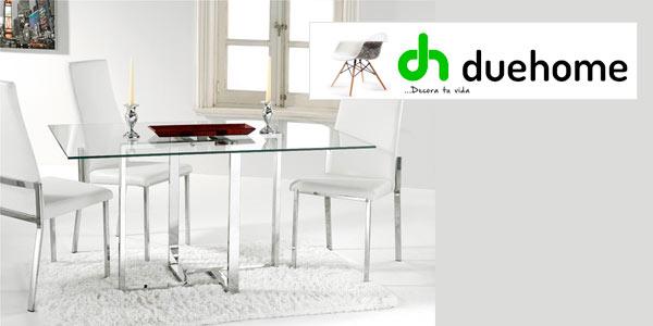 Mesa moderna para comedor en cristal y acero cromado barata