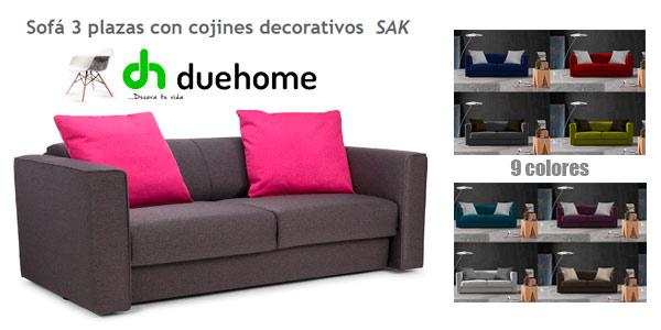 Sofá económico de tres plazas con cojines incluidos de Duehome Ebay
