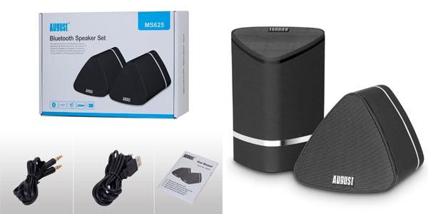 set de 2 altavoces inalambricos con sonido stereo y conexión Bluetooth August MS625