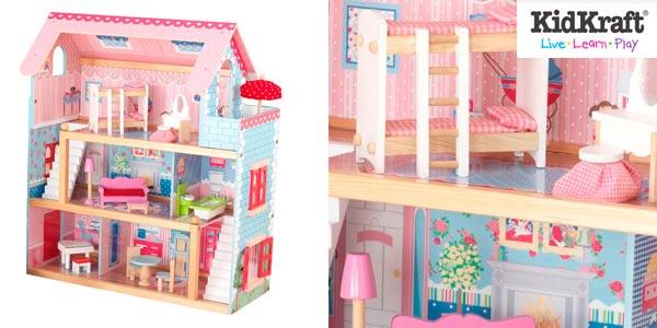 Casa de muñecas grande de Kiddraft con mobiliario en Amazon