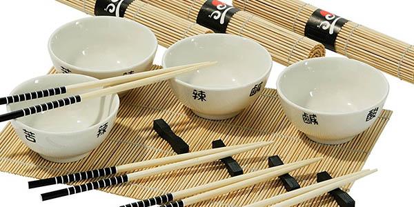 conjunto cuencos palillos esterillas chino relacion calidad-precio brutal