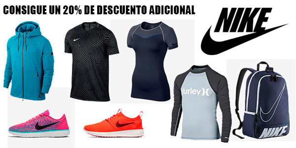 20% de descuento adicional con cupón CLNOV16 en Outlet Nike