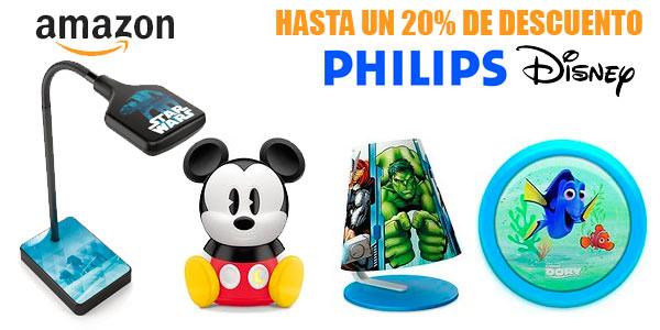 Hasta un 20% de descuento en lámparas infantiles Philips Disney en Amazon