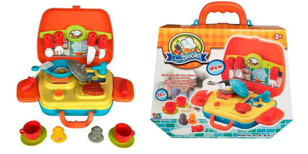 Kit de cocina infantil de 21 piezas en maletín a buen precio en Amazon