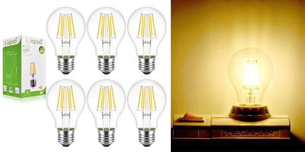 liqoo pack 6 bombillas filamento led clase a++ baratas