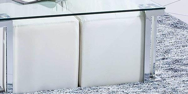 mesa centro cristal patas cromadas excelente relacion calidad-precio