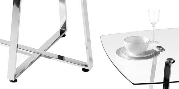 mesa comedor cristal patas metalicas premier housewares