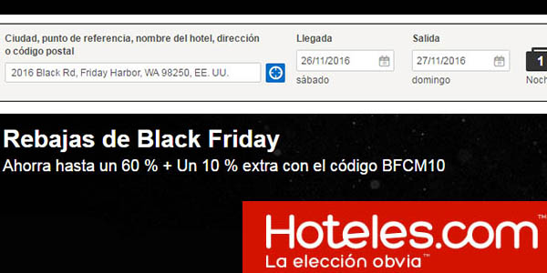 rebajas black friday hoteles.com cupon descuento