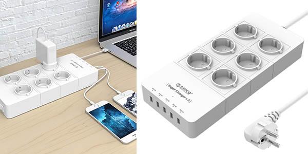 Regleta Orico con 6 tomas y 5 puertos USB
