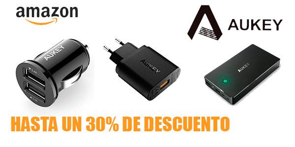 hasta un 30% de descuento en una selección de accesorios de electrónica Aukey en Amazon