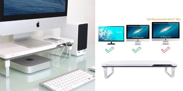 Soporte para pantalla de ordenador con espacio y puertos usb regulable a buen precio