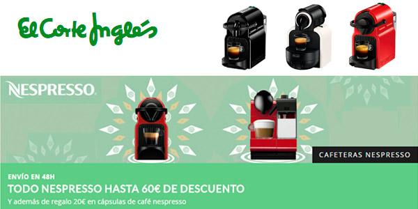 Descuentos en cafeteras de cápsulas Nespresso en El Corte Inglés y 20€ de regalo en cápsulas de café e