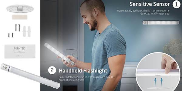 lámpara portátil LED fijable sensor detección orientable 180 grados
