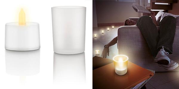 Set de 6 lámparas tipo vela parpadeante de Philips Tealights a buen precio en Amazon