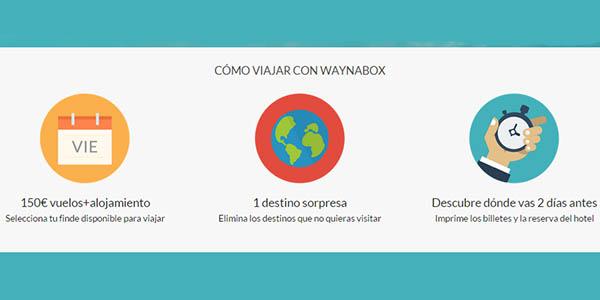 Waynabox pasos para reservar viaje sorpresa